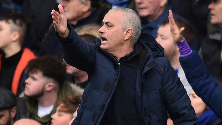 Tottenham Hotspur's Portuguese head coach Jose Mourinho reacts during the English Premier League football match between Chelsea and Tottenham Hotspur at Stamford Bridge in London on February 22 2020.