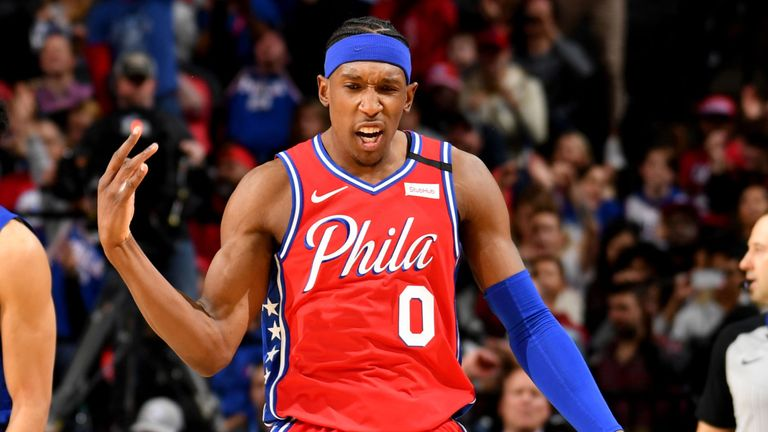 Josh Richardson celebrates a three-pointer during the 76ers' win against the Clippers