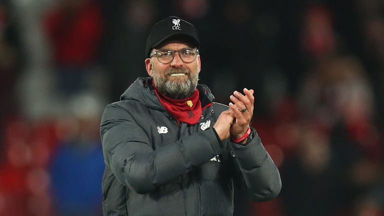 """Klopp salutes the Kop after his side """"squeezed"""" over the line on Monday"""