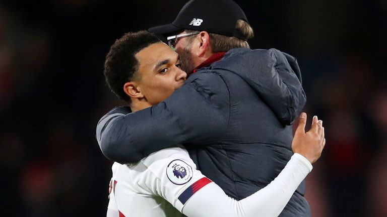Trent Alexander-Arnold has paid tribute to Jurgen Klopp's man management, saying: 'He knows when to put his arm around someone and help them along in tough times'