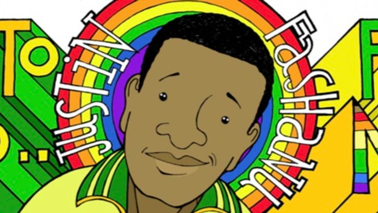Justin Fashanu Norwich City banner design (by David Shenton)