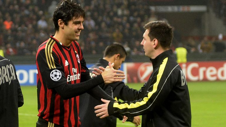 AC Milan's Kaka and Barcelona's Lionel Messi shake hands