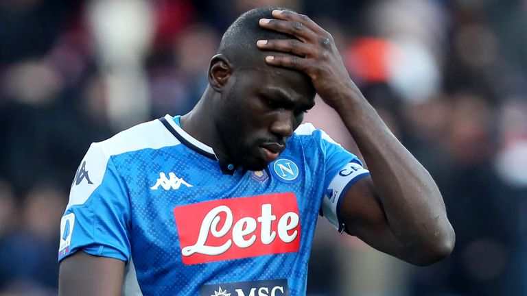 NAPLES, ITALY - FEBRUARY 09: Kalidou Koulibaly of SSC Napoli Disappointed ,during the Serie A match between SSC Napoli and US Lecce at Stadio San Paolo on February 9, 2020 in Naples, Italy. (Photo by MB Media/Getty Images)
