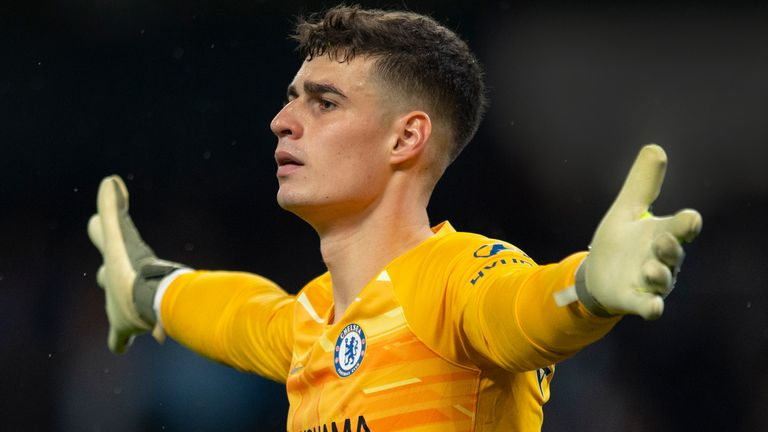 MANCHESTER, ENGLAND - NOVEMBER 23: Chelsea goalkeeper Kepa Arrizabalaga during the Premier League match between Manchester City and Chelsea FC at Etihad Stadium on November 23, 2019 in Manchester, United Kingdom. (Photo by Visionhaus) *** Local Caption *** Kepa Arrizabalaga