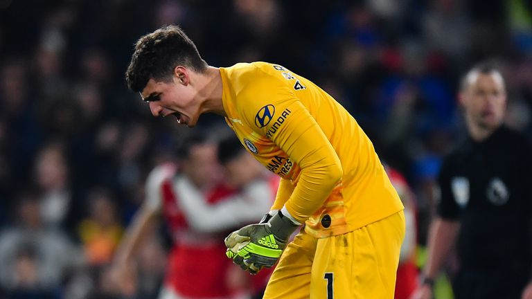Chelsea's Kepa Arrizabalaga frustrated as Arsenal's Hector Bellerin scores a late equaliser during the Premier League match between Chelsea FC and Arsenal FC at Stamford Bridge on January 21, 2020 in London, United Kingdom.