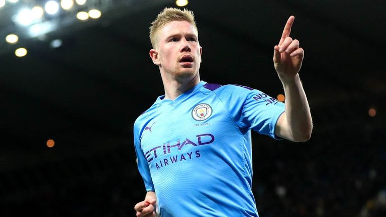 Kevin de Bruyne celebrates his goal for Manchester City against West Ham