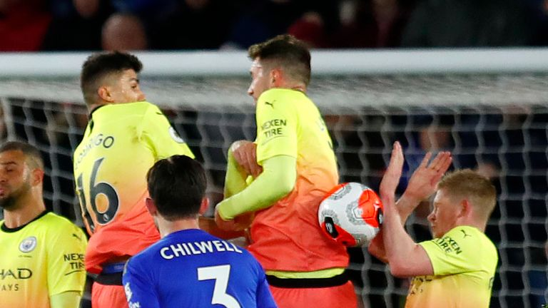 What appeared a clear handball by Kevin De Bruyne handball was not overturned by VAR