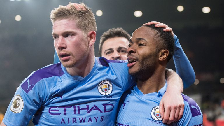 Kevin De Bruyne and Raheem Sterling celebrate during Manchester City's game against Wolves at Molineux