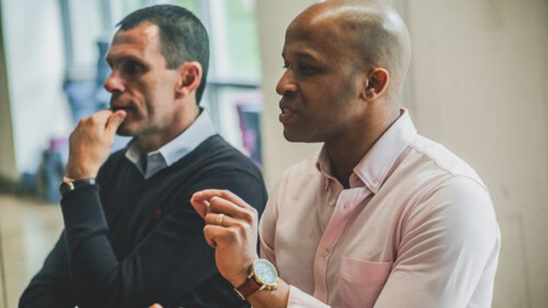 George with Gus Poyet discussing mental health in football