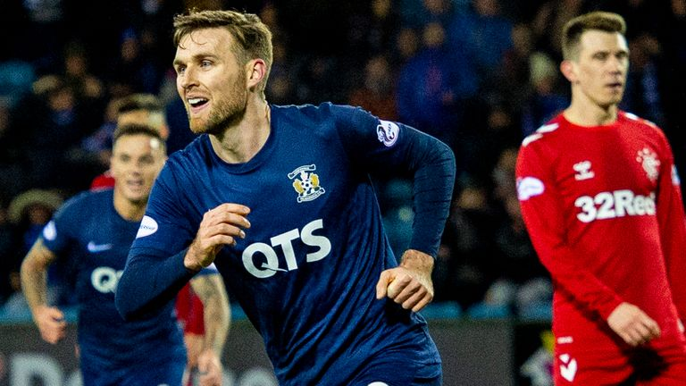 Stephen O'Donnell wheels away after clawing Kilmarnock level against Rangers