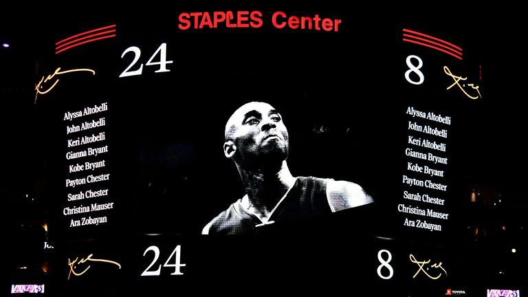 The Staples Center scorecard honours Kobe Bryant, his daughter Gianna and the other victims of last Sunday's tragic helicopter crash