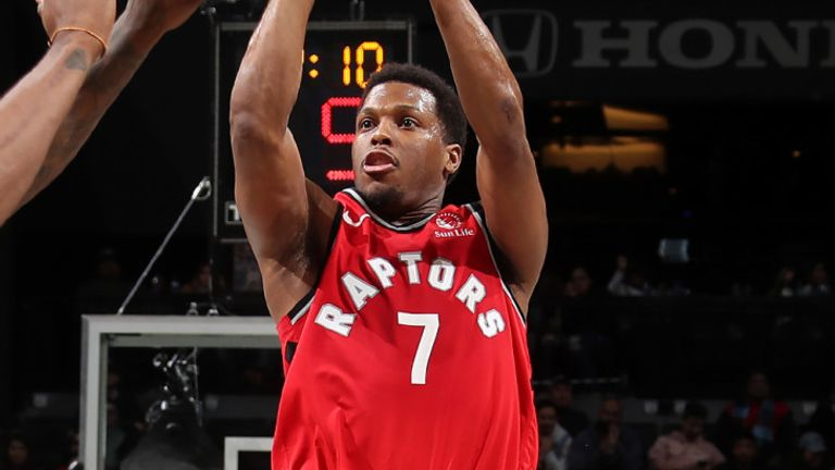 Kyle Lowry firs from three-point range against the Nets
