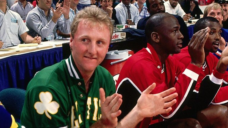 Larry Bird and Michael Jordan prepare to compete in the All-Star 3-Point Contest