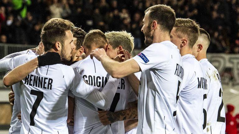 LASK celebrate a goal in their Europa League last-32 second-leg against AZ Alkmaar