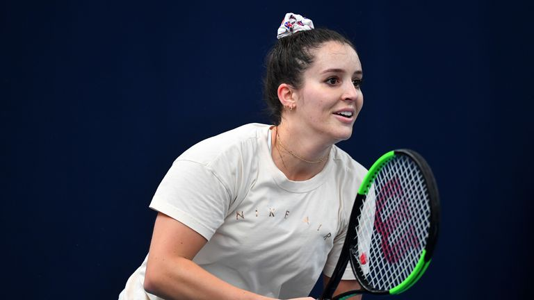 Laura Robson practising with Great Britain's Fed Cup team at Bath University in 2019