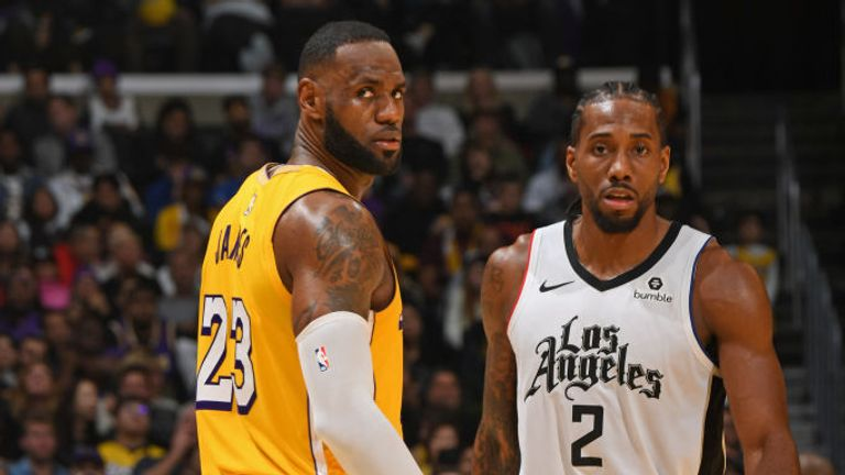 LeBron James of the Los Angeles Lakers and Kawhi Leonard of the LA Clippers