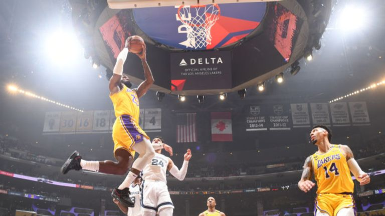 LeBron James of the Los Angeles Lakers shoots the ball against the Memphis Grizzlies