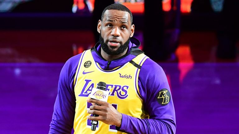 LeBron James honours Kobe Bryant with an emotional address to the Staples Center crowd before the Los Angeles Lakers returned to action on Friday night