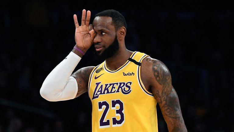 LeBron James celebrates a three-pointer against the San Antonio Spurs
