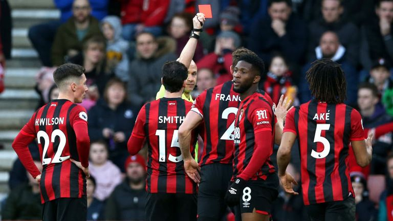 Jefferson Lerma was controversially sent off for a challenge on Jack Grealish, despite Bournemouth protests