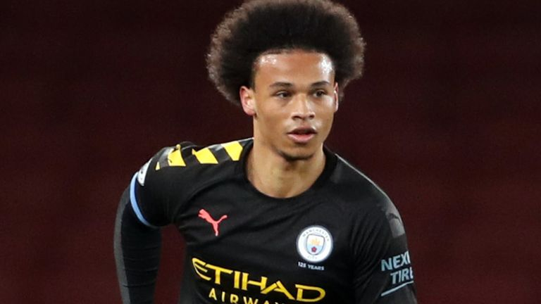 Leroy Sane of Manchester City runs with the ball under pressure from Trae Coyle of Arsenal during the Premier League 2 match between Arsenal U23 and Manchester City U23 at Emirates Stadium