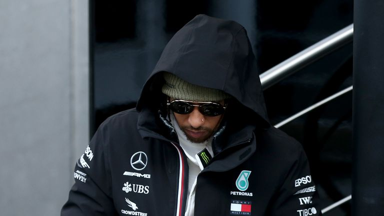 Lewis Hamilton of Great Britain and Mercedes GP walks in the Paddock during day two of F1 Winter Testing at Circuit de Barcelona-Catalunya on February 20, 2020 in Barcelona, Spain.