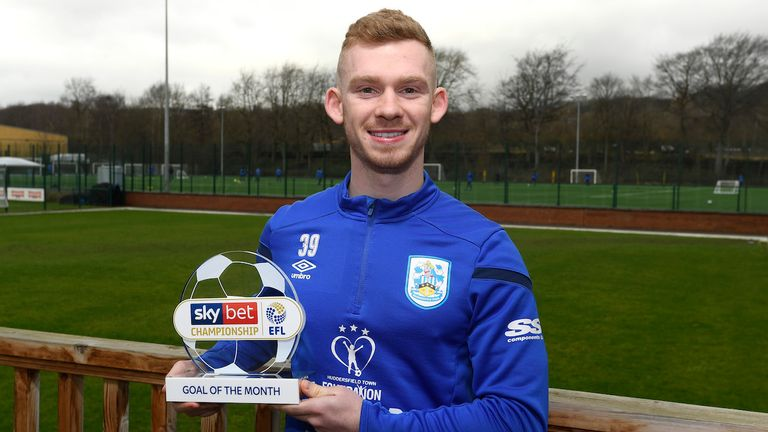 Lewis O'Brien of Huddersfield Town is presented with the Sky Bet Championship Goal of the Month Award for January