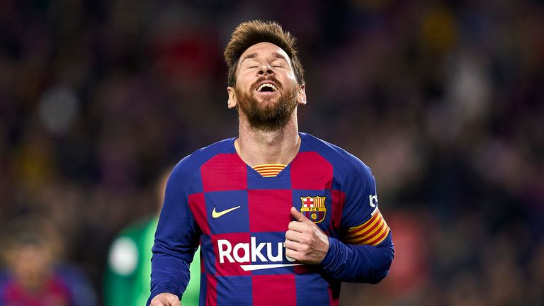 Lionel Messi of FC Barcelona reacts during the Copa del Rey round of 16 match between FC Barcelona and Leganes at Camp Nou on January 30, 2020 in Barcelona, Spain.