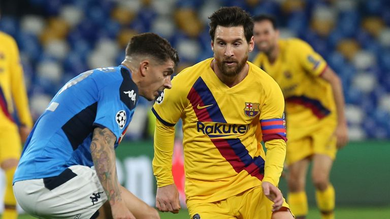 Lionel Messi looks to run at the Napoli defence at the San Paolo