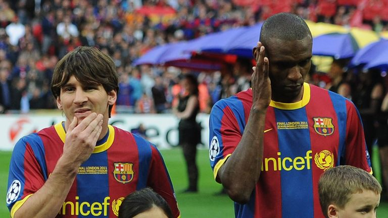 during the UEFA Champions League final between FC Barcelona and Manchester United FC at Wembley Stadium on May 28, 2011 in London, England.
