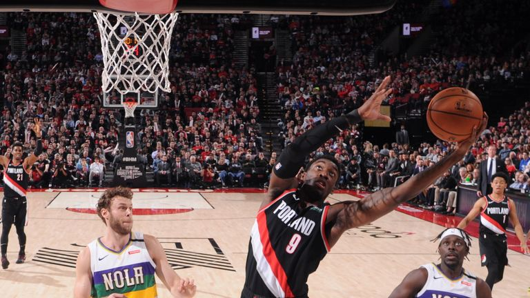 Nassir Little of the Portland Trail Blazers drives to the basket during a game against the New Orleans Pelicans