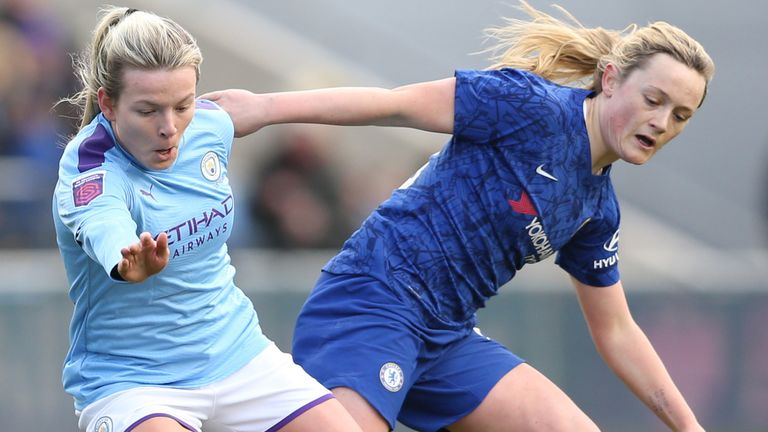 Action from Manchester City vs Chelsea in the WSL