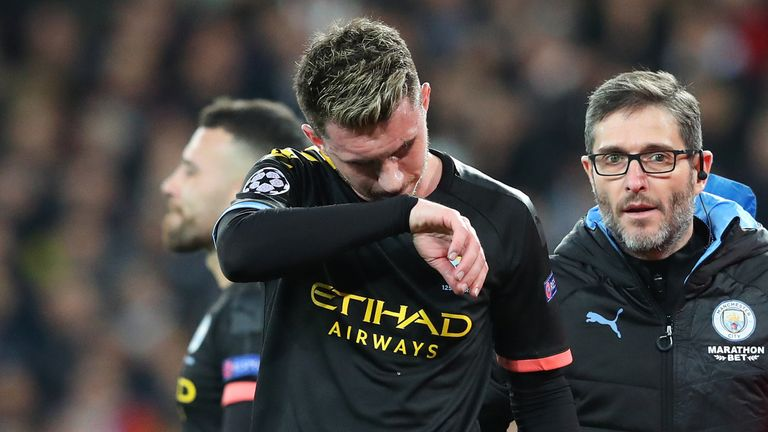 Aymeric Laporte limped out of Manchester City's last 16 Champions League clash at Real Madrid