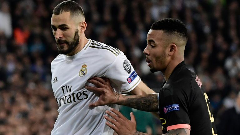 Real Madrid's Karim Benzema vies with Manchester City's Gabriel Jesus