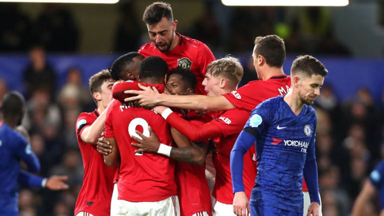 Anthony Martial is mobbed by team-mates after putting Man Utd ahead