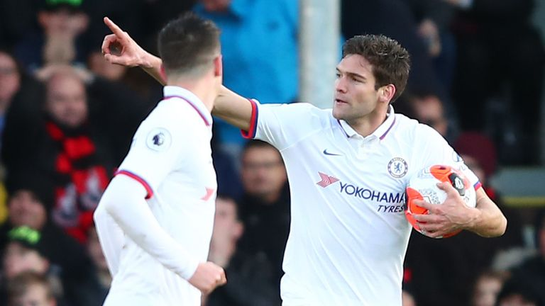 Marcos Alonso celebrates scoring Chelsea's second goal