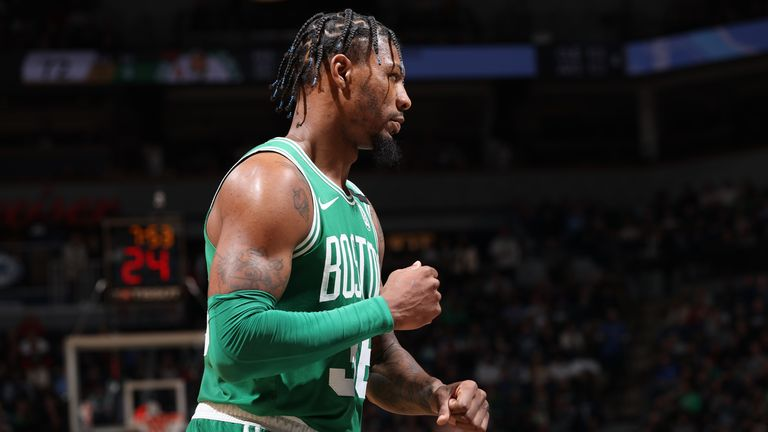 Marcus Smart of the Boston Celtics looks on during the game against the Minnesota Timberwolves