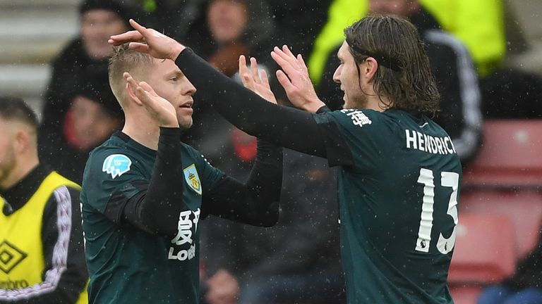 Matej Vydra celebrates with team-mate Jeff Hendrick after scoring Burnley's second goal against Southampton