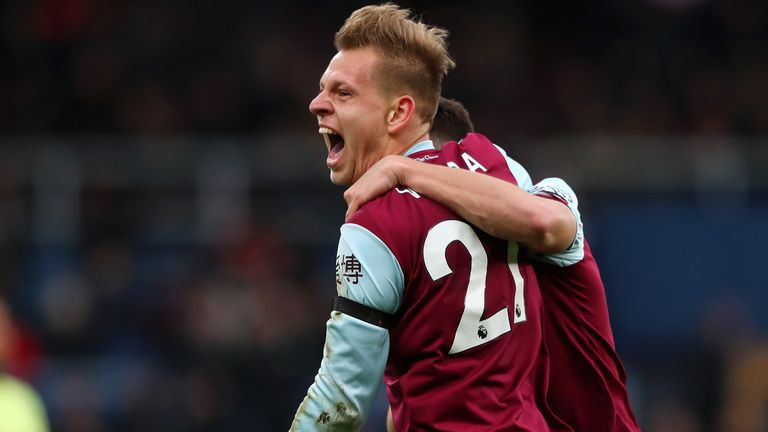 Matej Vydra celebrates after putting Burnley 1-0 up