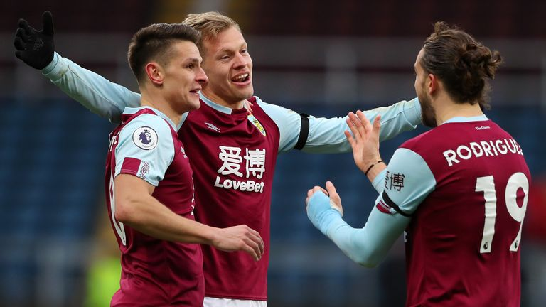 Matej Vydra celebrates with team-mates after giving Burnley the lead