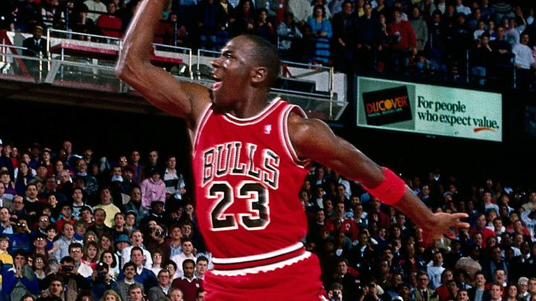 Michael Jordan takes flight at the 1988 All-Star Dunk Contest in Chicago