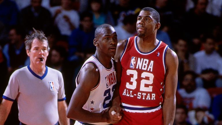 Michael Jordan of the Eastern Conference defends against Magic Johnson of the Western Conference during the 1988 NBA All-Star Game