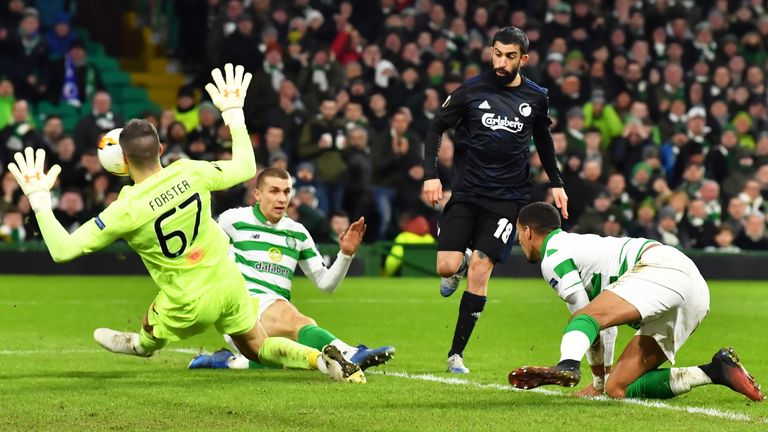 Michael Santos scores to make it 1-0 to Copenhagen against Celtic