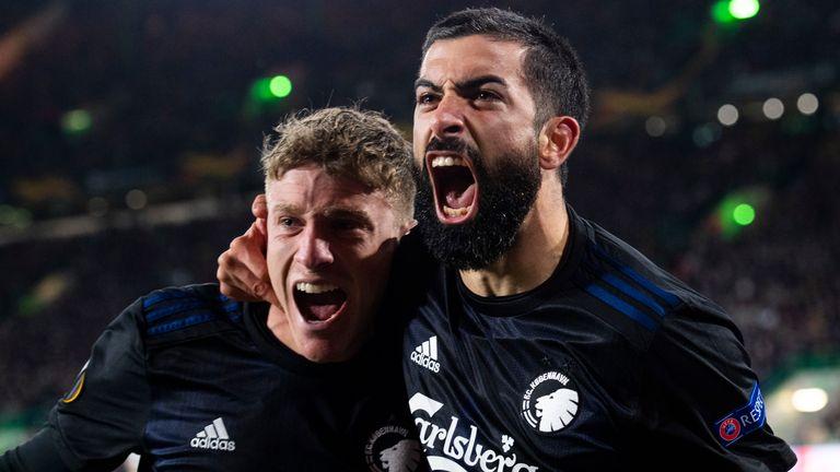 Copenhagen's Michael Santos celebrates after scoring to make it 1-0 against Celtic