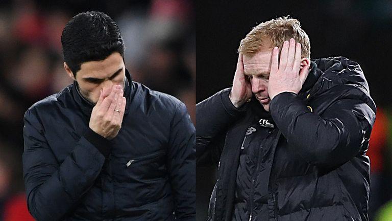 Mikel Arteta (left) and Neil Lennon both suffered Europa League heartache