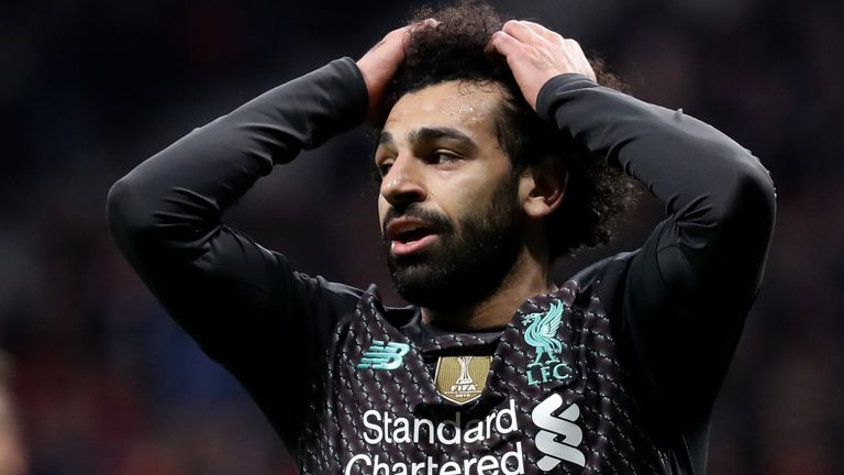 Mohamed Salah reacts to a missed Liverpool chance vs Atletico Madrid