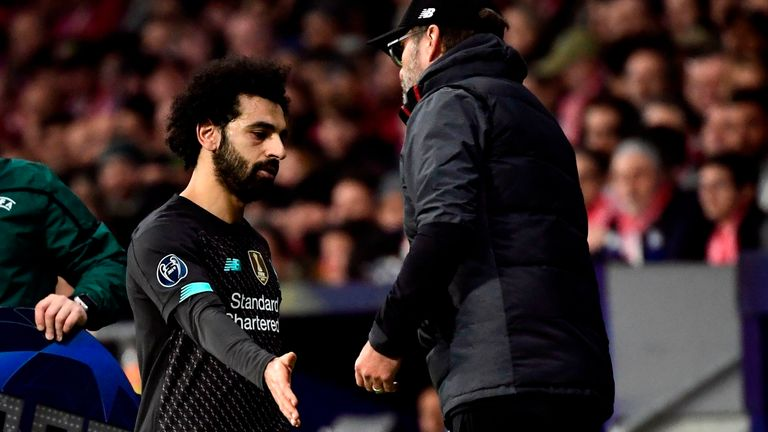 Mohamed Salah was subbed off with nearly 20 minutes remaining against Atletico