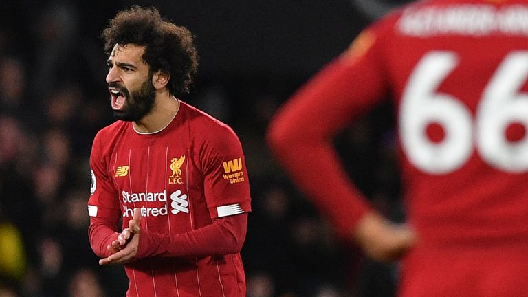 Mohamed Salah reacts after Liverpool go 2-0 down at Vicarage Road