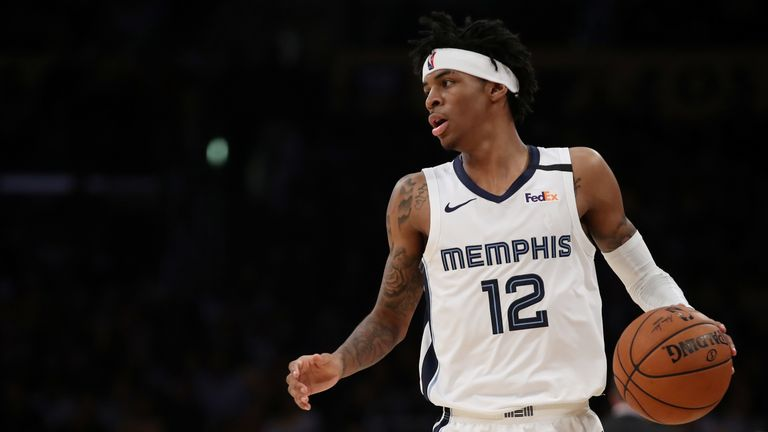 Ja Morant of the Memphis Grizzlies dribbles the ball during the fourth quarter in a game against the Los Angeles Lakers