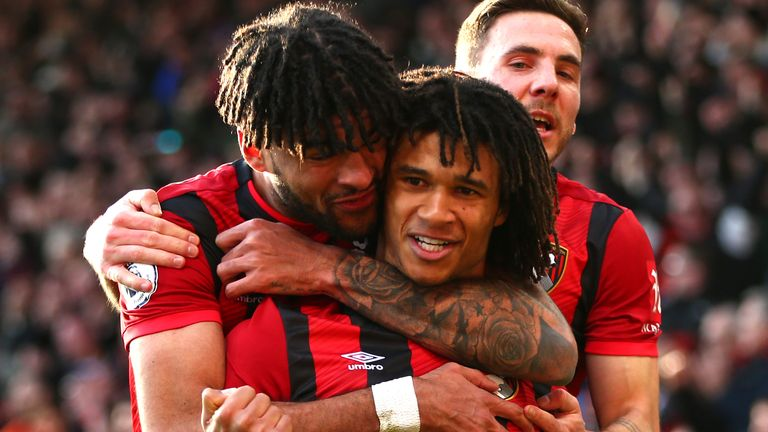 Nathan Ake celebrates with Philip Billing after doubling Bournemouth's lead